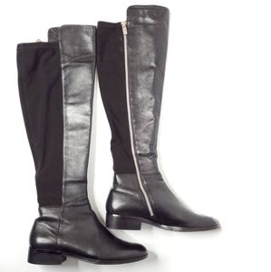 Michael Kors Black Leather Bromley Knee High Boots